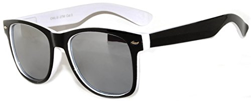 New Stylish Retro Vintage Two -Tone Sunglasses White-Black frame Mirror - Lens White Frame Sunglasses Black
