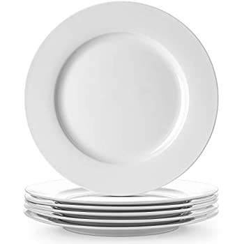 DOWAN Porcelain Dinner Plates, 10 Inches Desert Serving Platters Set of 6,White