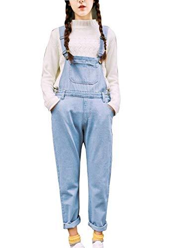 Casuales Delanteros Mujeres Bolsos Pantalones Holgados Mujer Hellblau Vaqueros Con Al Pantalón Mono Battercake Peto Aire Capucha De Libre HPBwF