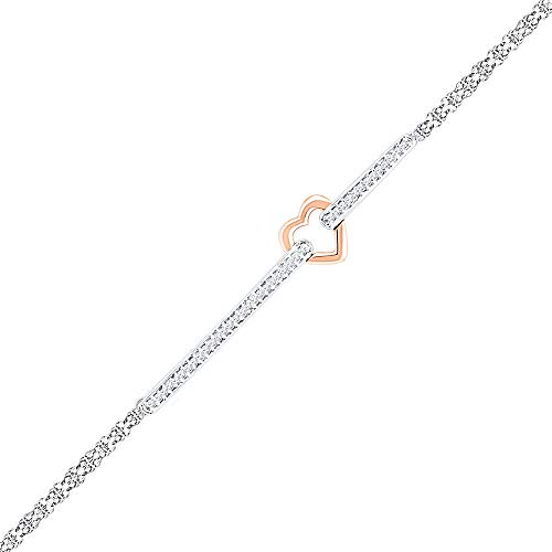 Jewels By Lux 14kt Two-tone Gold Womens Round Diamond Heart Fashion Bracelet 1/8 Cttw In Prong Setting (I2-I3 clarity; J-K color)