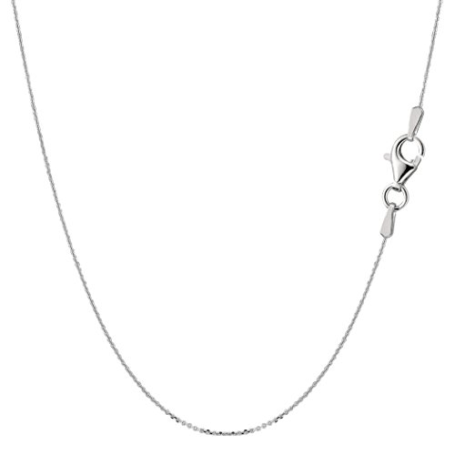 Sterling Silver Rhodium Plated Cable Chain Necklace, 0.6mm, 18
