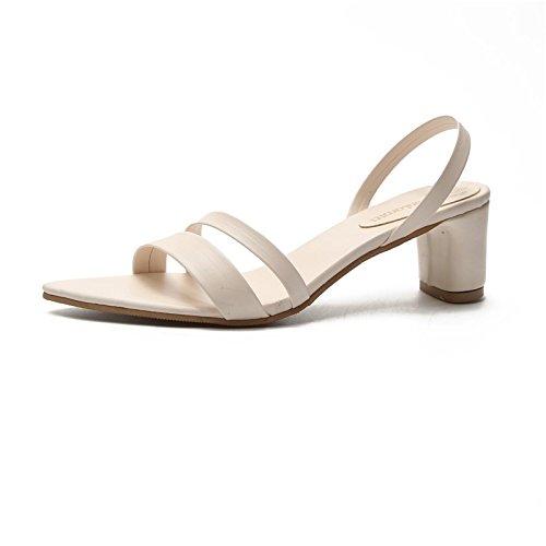 VIVIOO Pumps,Damen Pumps Frauen Sandalen Offene Spitze Hausschuhe Frauen Sandale Starke Ferse Frauen Schuhe Frauen Pumpen Gladiator Schuhe  5|white Sandals