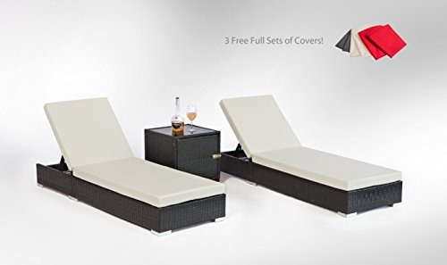 MCombo 3pc Sun Lounge Wicker Chair Garden Sofa Bed