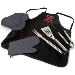 PICNIC TIME NCAA Miami (Ohio) Redhawks BBQ Digital Print Tote Pro Apron, One Size, Black