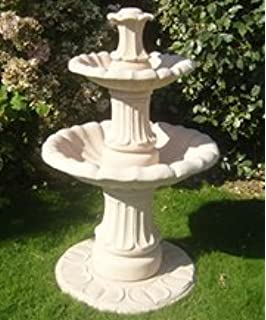 Stone Garden Water Fountain,4ft 3in Small 2 Tiered Fountain Self Contained  Outdoor Ornate Garden