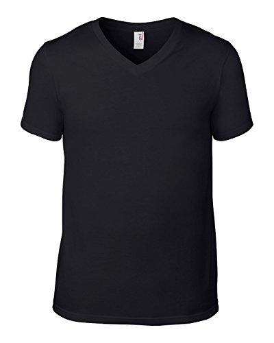 Amboss av106Herren Baumwolle Fashion Basic V-Ausschnitt T-Shirt Schwarz X-Large