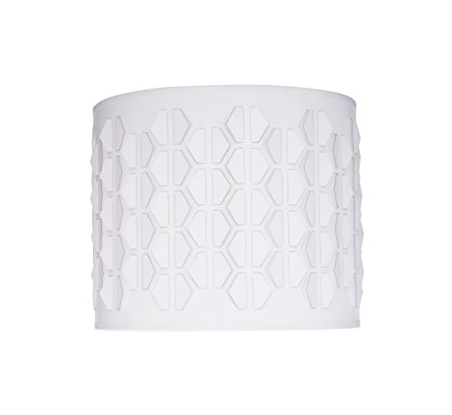 Laser Cut Shade (Aspen Creative 39241 Transitional Drum (Cylinder) Laser Cut Shaped Spider Construction Lamp Shade in Off-White, 12