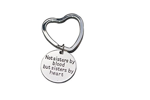 Christmas Gifts For Friend - Best Friends Keychain- Not Sisters By Blood But Sisters By Heart Keychain- Friend Jewelry- Perfect Gift for Friends