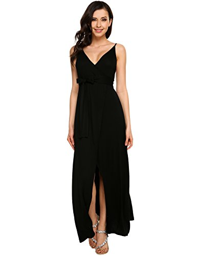 Prom Dress,Zeagoo Women's Sleeveless Halter Neck Vintage Slit Maxi Dress With Belt,Black,S