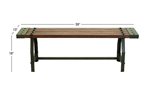 "Deco 79 51681 Industrial Black Metal & Brown Wood Bench, 55"" x 18"" by Deco 79 (Image #2)"