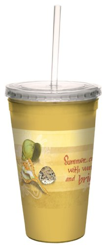 Tree-Free Greetings cc33458 Summery Seashell Wishes by Robin Pickens Artful Traveler Double-Walled Cool Cup with Reusable Straw, 16-Ounce, Multicolored (Straw Seashell)