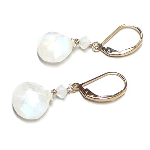 Rainbow Moonstone Briolette Lever Back Earrings Swarovski Crystal Gold-Filled