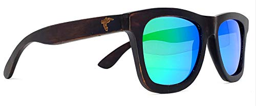 Wood Sunglasses - Polarized Lenses - Handmade Exotic Wooden Vintage Style Frame (brown, green) ()