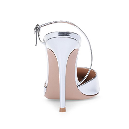 Stiletto EU40 Sandales Filles EU34 A Chaussures 46 De Sey Mariage Femmes Soirée CLOVER Hauts Silver LUCKY Bureau Talon Party Talon Latine Femmes Argent Danse x4gqct0