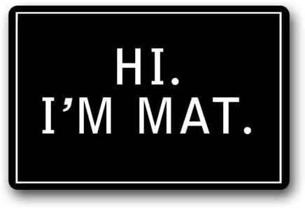 Novelty Custom Hi I'm Mat Rubber Floor Mats for Office Funny Welcome Mats Indoor Home Decorative Front Door Mats Machine Washable 23.6 x 15.7 Inch