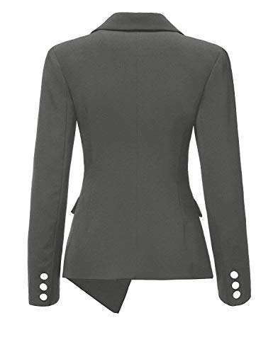 Tailleur Breasted Fit Autunno Mode Moda Colore di marca Camicia Lunga Single Bavero Da Di Puro Outerwear Slim Grau Formale Manica Giubotto Donna Giacca Irregular 1AnWH61