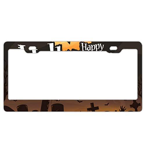 SDGlicenseplateframeIUY Halloween Poster October7Universal Aluminum Metal License Plate Frame, ()