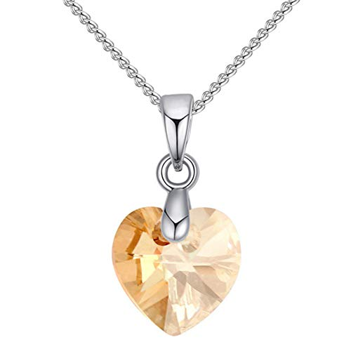 (Rubyyouhe8 Necklace &Romantic Women Faux Crystal Love Heart Charm Chain Necklace Party Jewelry Gift Austrian Crystal Necklace Small Sweetheart Heart Shaped Crystal Jewelry Golden )