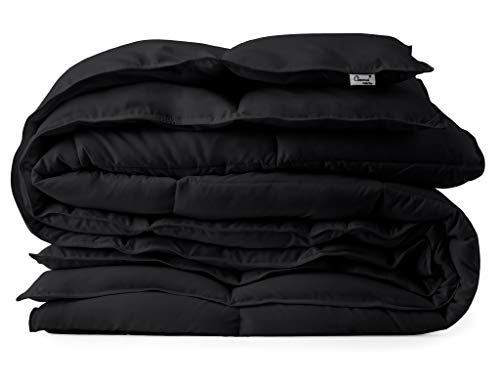 Black Down Alternative Comforter Duvet Insert - Corner Tabs, Double Stitches, Piped Edges, Siliconized Fiber, Protects Against Dust Mites, Hypoallergenic, Allergy Free - Oversized Queen 92
