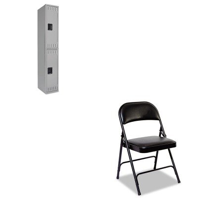 KITALEFC96BTNNDTS121836AMG - Value Kit - Tennsco Double Tier Locker (TNNDTS121836AMG) and Best Steel Folding Chair With Padded Back/Seat (ALEFC96B)