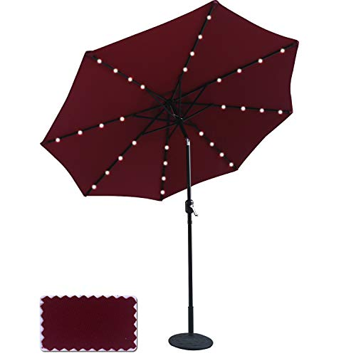Powered Patio Umbrella 32LED Lights Solar Umbrella with Tilt and Crank (Burgundy-1) ()
