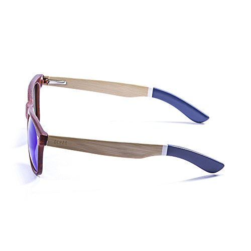 Ocean Sunglasses Beach Lunettes de Soleil Mixte Adulte, Bamboo Brown Frame/Wood Natural White/Blue Arms/Revo Blue Lens