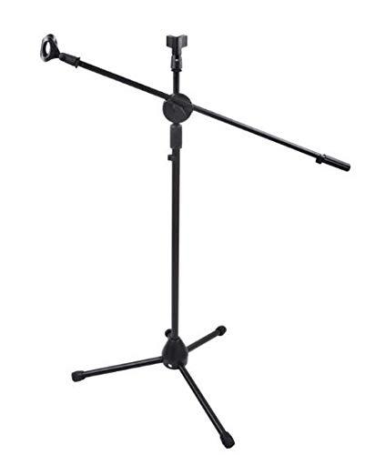 Adjustable Double-headed Mic Clip Microphone Holder Telescopic Floor Boom Stand