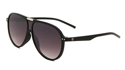 Khan Retro Turbo Oversized Flat Top Aviator Sunglasses (Black & Silver Frame, Black - Big Aviator Black Sunglasses