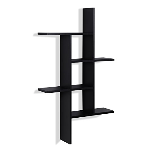 Danya B. XF160708BK Decorative Modern Sturdy Cantilever Floating Wall Mount Shelving Unit - Black