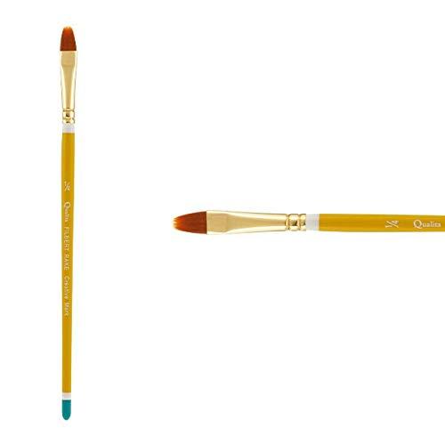 Creative Mark Qualita Golden Paint Brush Taklon Short Handle Paint Brush for Acrylics, Oils, Fine Art, Heavy Bodied Media - Single Brush - [Filbert Rake - Size 1/4in]