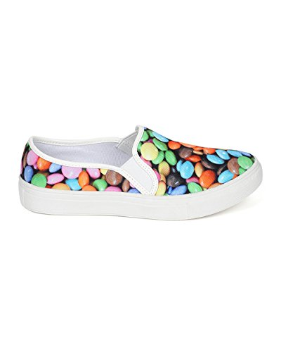 Misbehave CE61 Women Candy Canvas Elastic Slip on Sneaker Flat - Multi OXGUKpg8k