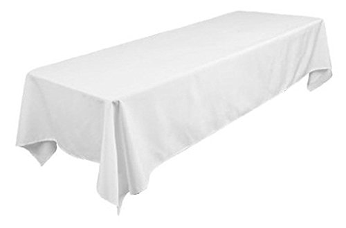 TEKTRUM 60 X 126 INCH 60X126 RECTANGULAR POLYESTER TABLECLOTH - THICK/HEAVY DUTY/DURABLE FABRIC - WHITE COLOR