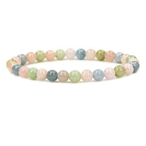 Natural Morganite Beryl Aquamarine Gemstone 6mm Round Beads Stretch Bracelet 7