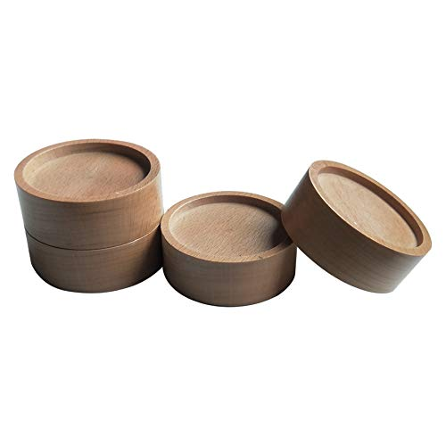 (Xinshidai Bed and Furniture Solid Wood Round Risers Wont Crack & Scratch Floors - Set of 4 (Wood Color))