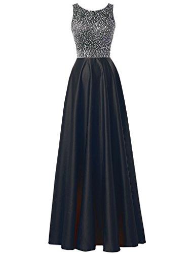 Prom Evening Dress Beaded Evening Bridesmaids Gown Solovedress Women's Satin Navy Long For Wedding qOYIU8