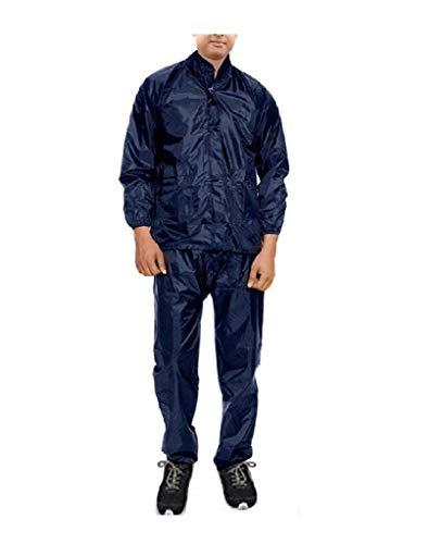 Banter Men's Polyester Plain Raincoat Rainsuit (Navy Blue)