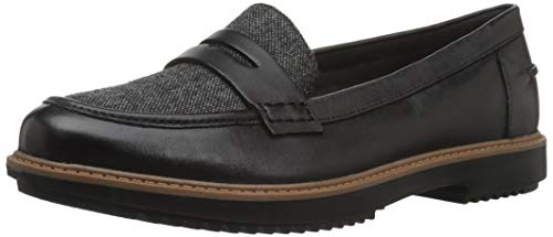 Clarks Women's Raisie Eletta Penny Loafer, Black Tweed Combi, 9 M US