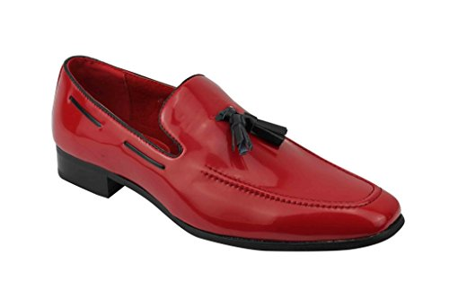 Rossellini Mens Smart Patent Leather Tassel Heel Loafer Slip On Casual MOD Driving Shoes[Jersey,UK 6 EU 40,Red] (Patent Jersey Leather)