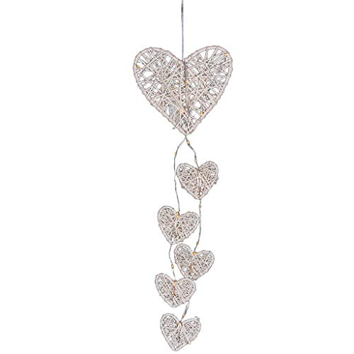 ❤Lemoning❤Wooden Rattan Heart-Shaped Wind Chime Room Hanging Night Light Charm Decor ()