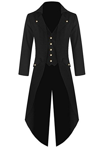 Farktop Men's Steampunk Vintage Tailcoat Jacket Gothic Victorian Coat Tuxedo Uniform Halloween Costume Black -