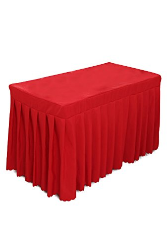 Tina 6' ft Polyester Fitted Tablecloth Table Skirt for Wedding Banquet Trade Show Red -