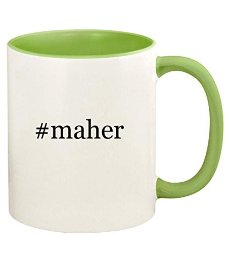 #maher - 11oz Hashtag Ceramic Colored Handle and Inside Coffee Mug Cup, Light Green