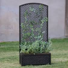 Outdoor Decorative Planter with Trellis Made w/ Wood and Steel in Bronze,Black and Dark Brown 21L x 7.5W x 45H in.