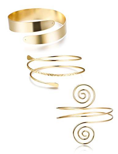 FUNRUN JEWELRY 3PCS Minimalist Coil Upper Armband Adjustable Cuff Armlet Arm Cuff Bracelet Filigree Swirl Gold Tone