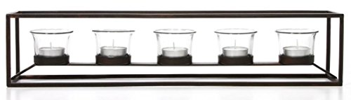 5 Candle Holder (Hosley's Iron 5 Votive Candle holder with Clear Glass. XLarge 18 Inch Long. Hand Made, Tea light set Includes FREE Tea Lights, Gift for Your Home, Fireplace, Wedding, Party Favors)