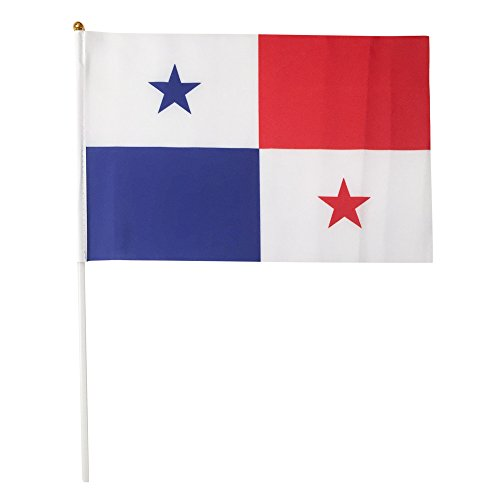 Panama Polyester Country Flags Desk Outside Waving Parade 12-pack Hand or 12 inch x 18 inch Grommet (12-Pack Hand Flag)