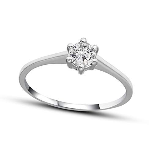 - 100% Pure Diamond Solitaire Ring IGI Certified 1/2 ct Natural Diamond Ring For Women I3-Clarity 14K White Gold Diamond Jewelry Gifts For Women (GJ-Color) (Jewelry Gifts For Women)