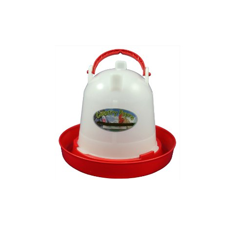 1.5 litre Economy Chicken Drinker Red and White with Handle Country Fayre (UK) Ltd