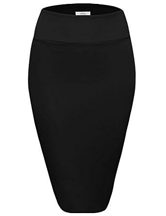 Scuba Pencil Skirt Midi Bodycon Skirt Below Knee Skirt, Office ...
