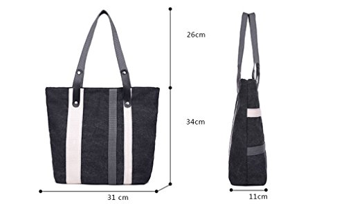 Frauen Jahrgang Leinwand Schulter Ipad Messenger Handtasche Arbeiten Sport Tasche Schwarz,Black-OneSize
